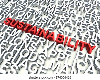 Word Sustainability in red, salient among other related keywords concept in white. 3d render illustration.