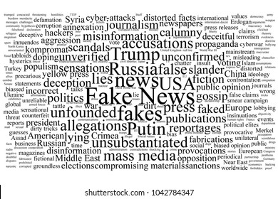 Word tag cloud on the topic of fake news with black text isolated on white background