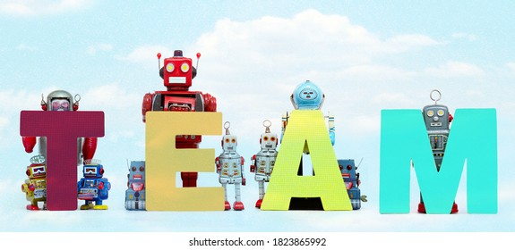 The word     TEAM  held by retro robots  cloud
