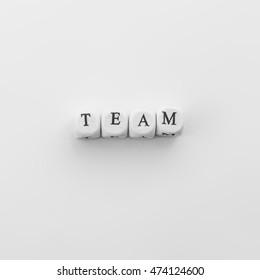 Word Team spelled by dice
