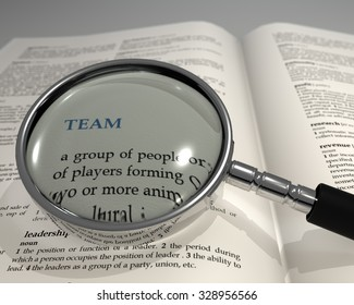 "Word ""TEAM"" under magnifying glass. Magnifying glass on dictionary. Focused view. Search concept. 3D render."