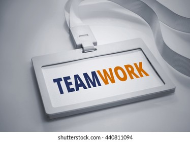 Word TEAMWORK on Identification card background.For business concept.