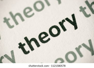 word theory printed on white paper macro