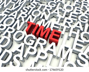 Word Time in red, salient among other related keywords in white. 3d render illustration.