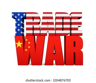 """Word """"TRADE WAR"""" with United States and Chinese Flag Isolated. 3D rendering"""