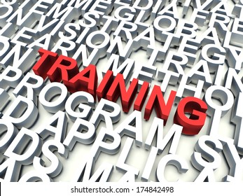 Word Training in red, salient among other keywords concept in white. 3d render illustration.