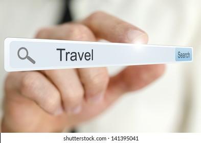 Word Travel written in search bar on virtual screen.