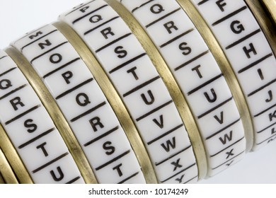 Word truth set as a secret keyword in a combination puzzle box with letter rings known as Cryptex