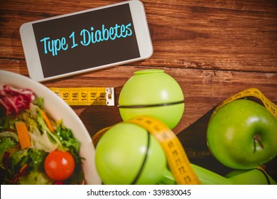 The word type 1 diabetes against phone on healthy persons desk