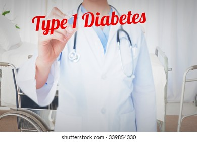 The word type 1 diabetes and doctor pointing felt pen against bright white room with windows