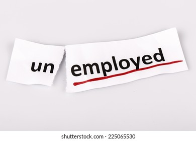 The word unemployed changed to employed on torn paper and white background