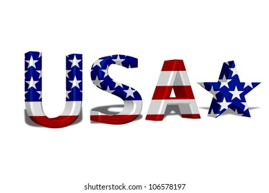 The word USA in 3D in the American flag colors isolated on white