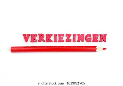 The word verkiezingen and a red pencil which means elections in dutch against a white background