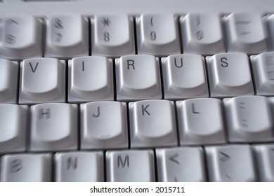 The word virus spelt on computer keyboard with a urgent/emergency zoom effect