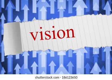 The word vision against futuristic arrow pointing upwards