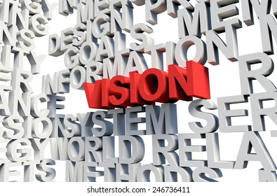 Word Vision in red, salient among other related keywords concept in white. 3d render illustration.