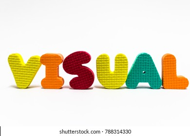 "Word ""visual"" from alphabetical kid toys. Visual learning is good for memorization improvement."