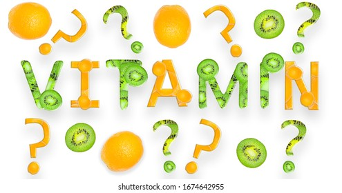 """The word """"Vitamin"""" with a question mark made from fruit"""