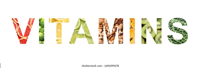 Word VITAMINS made of different products on white background. Banner design