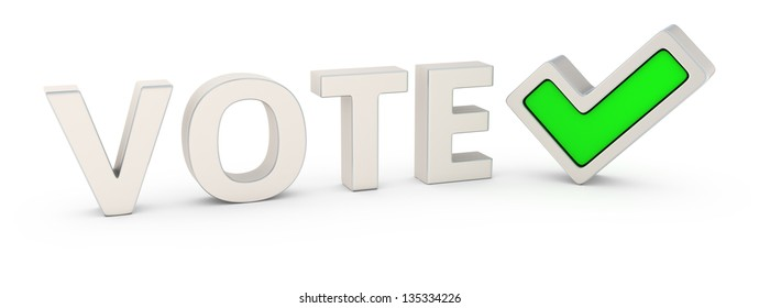 "Word ""Vote"" and green tick mark"