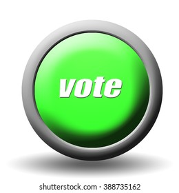 The word Vote on a green 3D Button Render