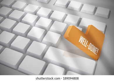 The word well done on white keyboard with orange key