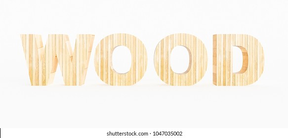Word wood made with wood on a white background. 3d Rendering.