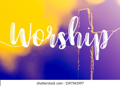 "The word ""Worship"" and holy cross for good friday and easter day in church christian music concert or Sunday service.duo color tone."