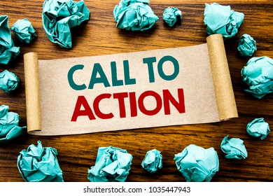 Word, writing Call To Action. Business concept for Proactive Success Goal Written on sticky note paper, wooden background folded yellow paper meaning thinking
