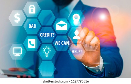 Word writing text Bad Creditquestion We Can Help. Business concept for offerr help to gain positive payment history.
