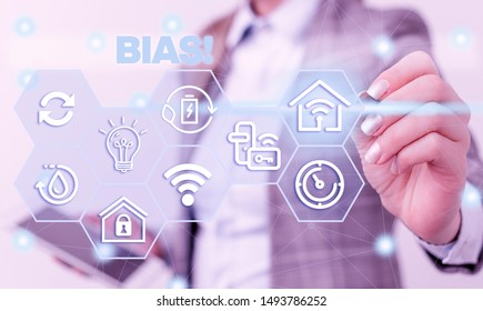 Word writing text Bias. Business concept for inclination or prejudice for or against one demonstrating group Female human wear formal work suit presenting presentation use smart device.