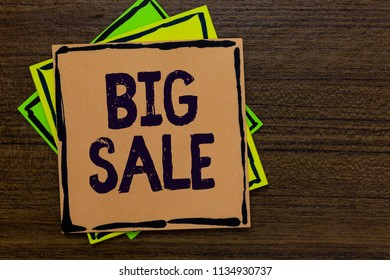 Word writing text Big Sale. Business concept for putting products on high discount Great price Black Friday Paper notes Important reminders Express ideas messages Wooden background.