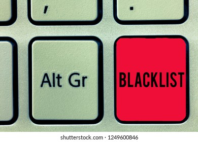Word writing text Blacklist. Business concept for list of showing or groups regarded as unacceptable or untrustworthy Keyboard key Intention to create computer message, pressing keypad idea.