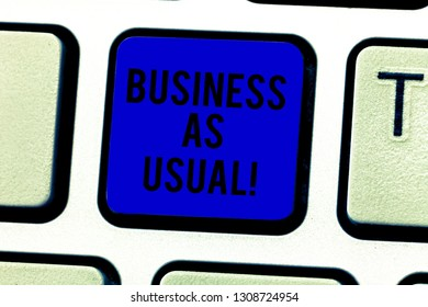 Word writing text Business As Usual. Business concept for ongoing and unchanging state affairs despite difficulties Keyboard key Intention to create computer message pressing keypad idea.