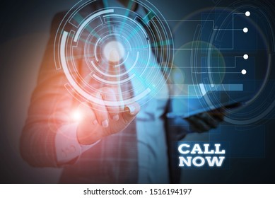 Word writing text Call Now. Business concept for To immediately contact a demonstrating using telecom devices with accuracy Woman wear formal work suit presenting presentation using smart device.