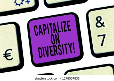 Word writing text Capitalize On Diversity. Business concept for Bringing together workers with different ethnicity Keyboard key Intention to create computer message pressing keypad idea.