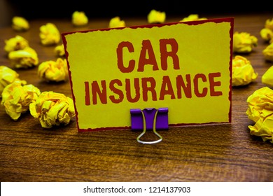 Word writing text Car Insurance. Business concept for Accidents coverage Comprehensive Policy Motor Vehicle Guaranty Clip holding yellow paper note crumpled papers several tries mistakes.