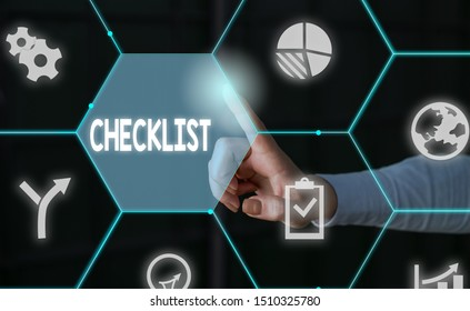 Word writing text Checklist. Business concept for List down of the detailed activity as guide of doing something Male human wear formal work suit presenting presentation using smart device.