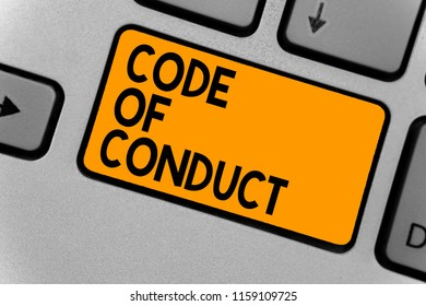 Word writing text Code Of Conduct. Business concept for Ethics rules moral codes ethical principles values respect Keyboard orange key Intention create computer computing reflection document.