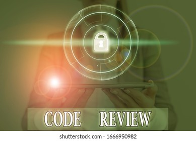 Word writing text Code Review. Business concept for single most effective technique for identifying security flaws.