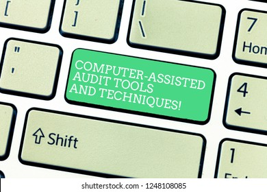 Word writing text Computer Assisted Audit Tools And Techniques. Business concept for Modern auditing applications Keyboard key Intention to create computer message, pressing keypad idea.
