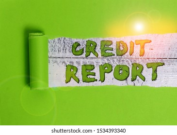 Word writing text Credit Report. Business concept for Borrowing Rap Sheet Bill and Dues Payment Score Debt History.