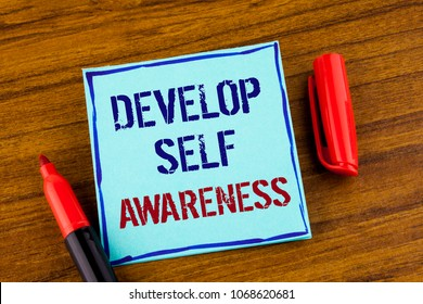 Word writing text Develop Self Awareness. Business concept for What you think you become motivate and grow written Sticky note paper the Wooden background Marker next to it.