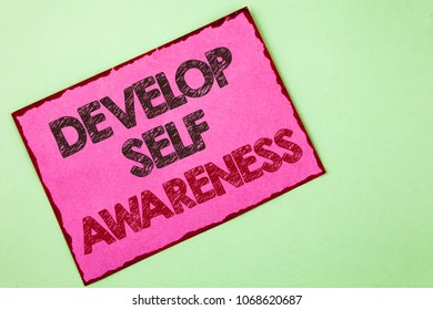 Word writing text Develop Self Awareness. Business concept for What you think you become motivate and grow written Pink sticky note paper plain background.