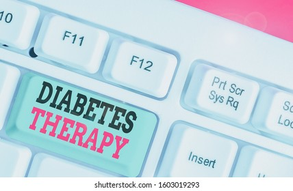 Word writing text Diabetes Therapy. Business concept for aim to achieve lower average blood glucose results.