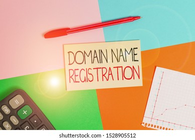 Word writing text Domain Name Registration. Business concept for Own an IP Address Identify a particular Webpage Office appliance colorful square desk study supplies empty paper sticker.