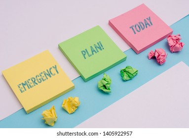 Word writing text Emergency Plan. Business concept for actions developed to mitigate damage of potential events Note papers and stationary placed sideways on top of softhued backdrop.