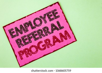 Word writing text Employee Referral Program. Business concept for Recommend right jobseeker share vacant job post written Pink sticky note paper plain background.