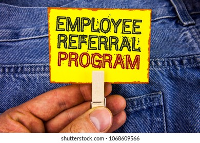 Word writing text Employee Referral Program. Business concept for Recommend right jobseeker share vacant job post written Yellow Sticky Note Paper holding by man with Clip Jeans background