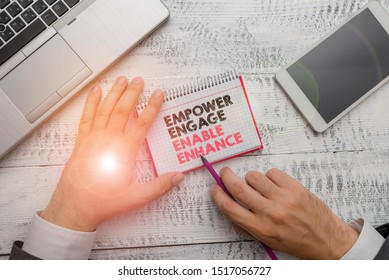 Word writing text Empower Engage Enable Enhance. Business concept for Empowerment Leadership Motivation Engagement.